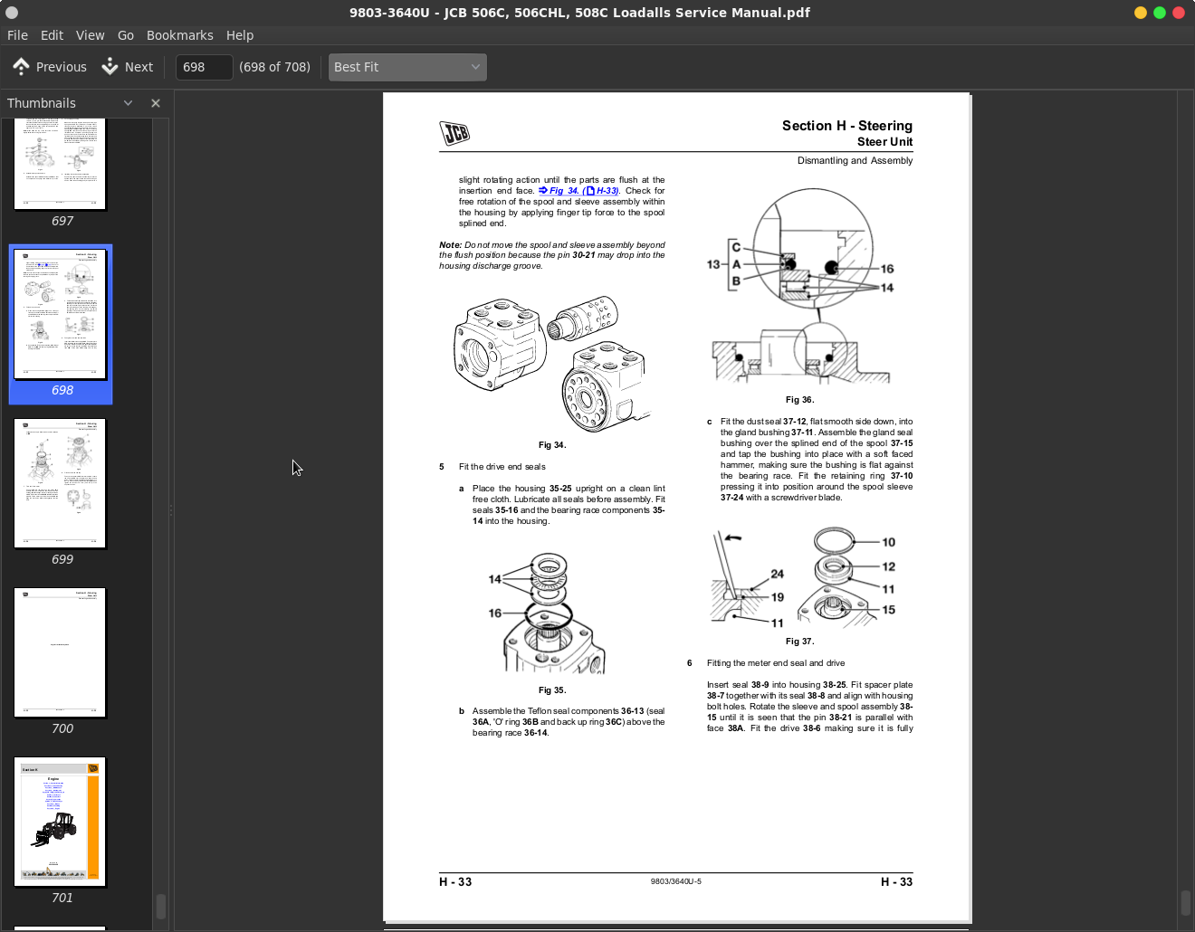 Jcb Loadalls 506c  506chl  508c Repair  U0026 Service Manuals