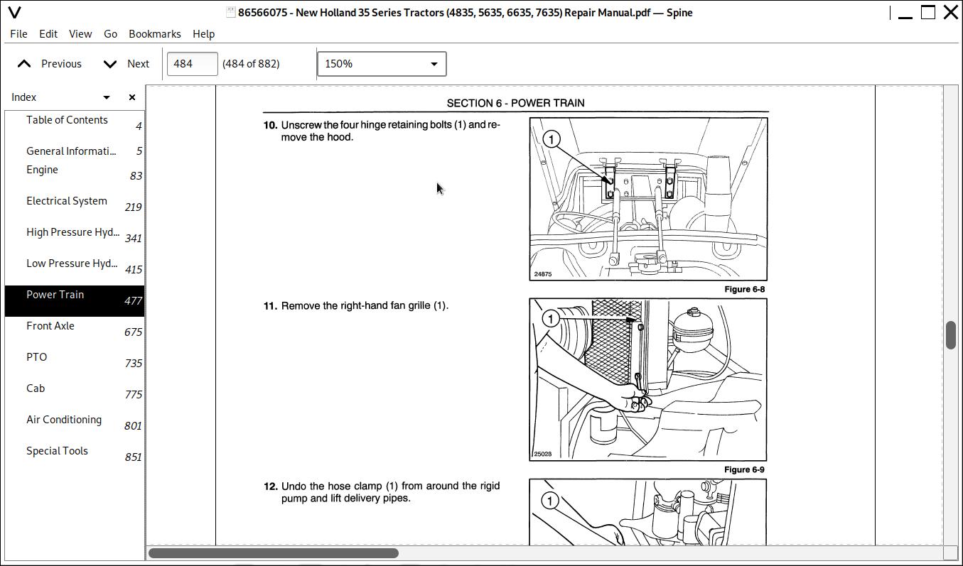 New Holland 4835, 5635, 6635, 7635 Tractors Repair Service