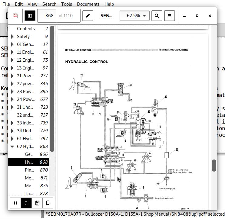 Komatsu Bulldozer D150A & D155A Repair Service Manuals