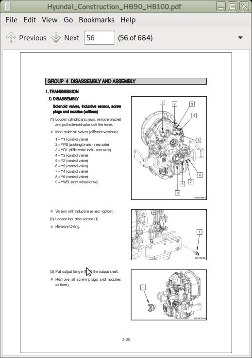 Hyundai Construction Backhoe Loader Hb90  Hb100 Repair
