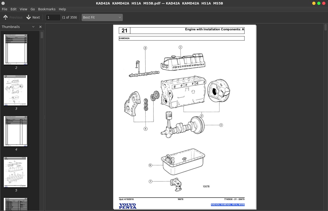 Volvo Penta Marine Diesel Engines KAD42A, KAMD42A, HS1A, MS5B Parts Catalog  Manual   A++ Repair Manual Store   Volvo Marine Diesel Engine Diagram      A++ Repair Manual Store
