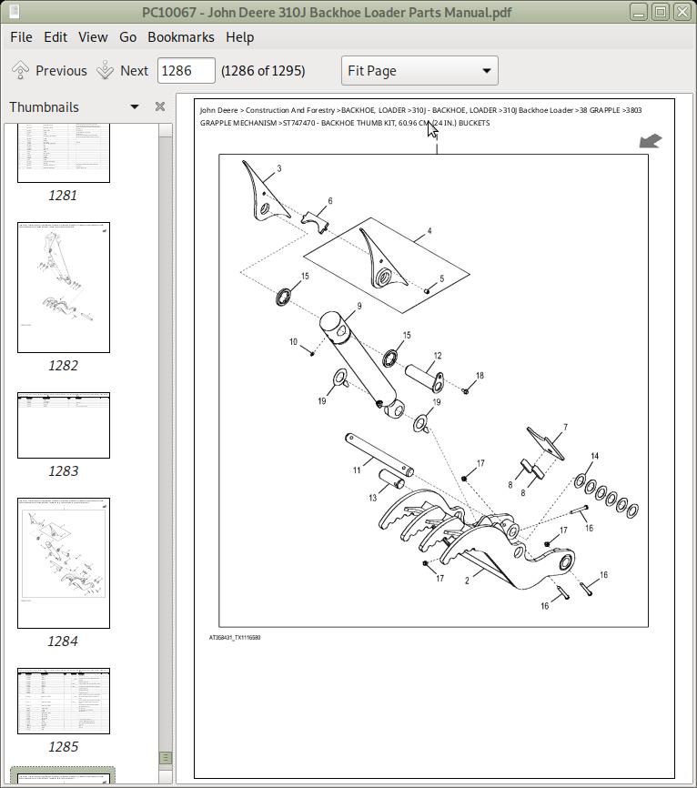 John Deere 310j Backhoe Loader Parts Manual  Pc10067