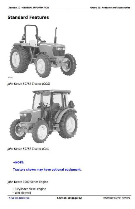 John Deere Tractors 5055E, 5065, 5075E Repair Service