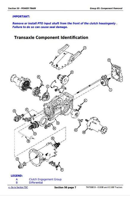 John Deere Tractors 6100B, 6110B Repair Service Manual