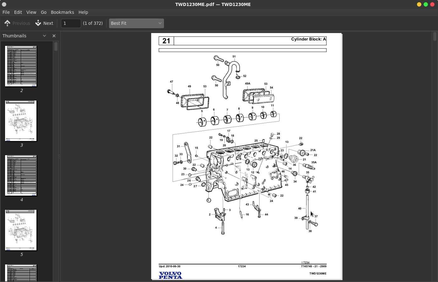 volvo penta industrial engines twd1230me parts catalog