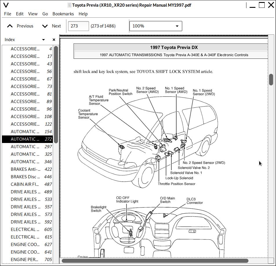 Toyota Previa / Tarago Mini Van Repair Service Manual 1990