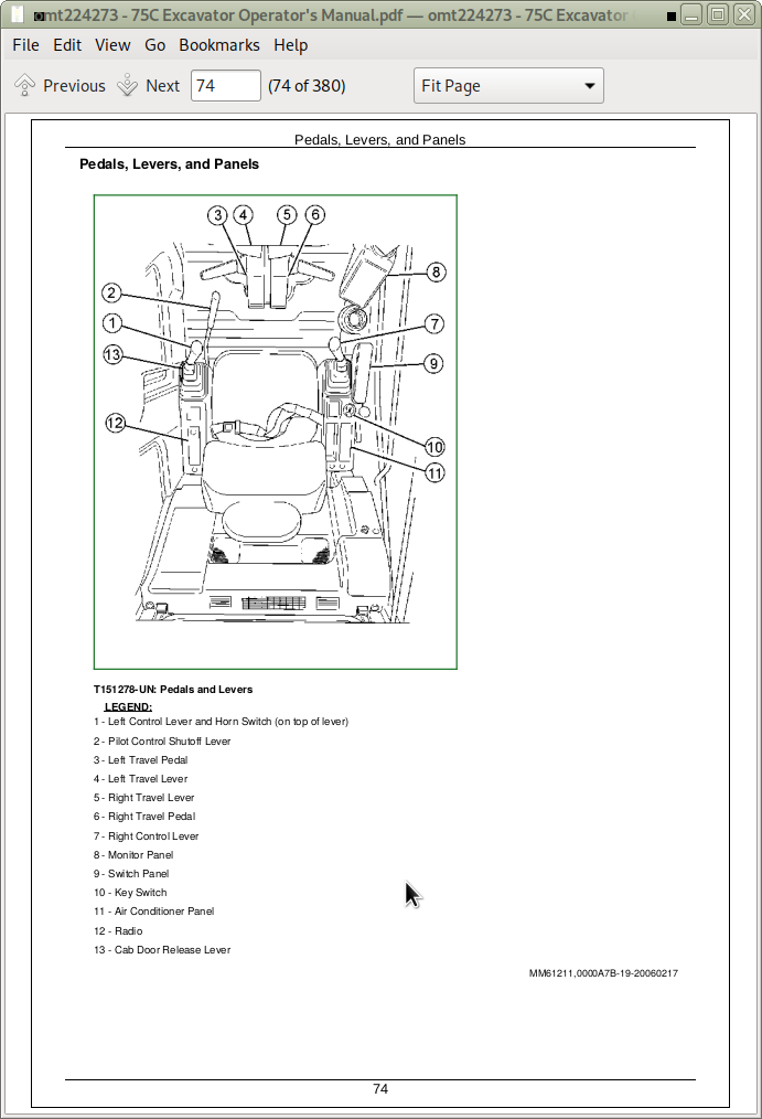 John Deere 75C Excavator Operator's Manual (OMT224273